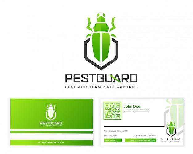 Logotipo de guarda de pragas com artigos de papelaria cartão de visita