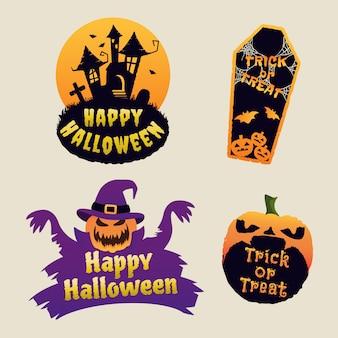 Logotipo de halloween com casa assombrada, abóbora e caixão