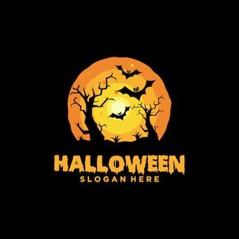 Logotipo de halloween com modelo de slogan