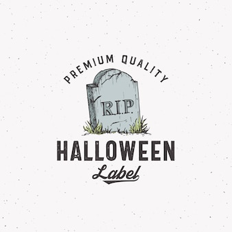Logotipo de halloween de estilo vintage premium ou modelo de etiqueta. símbolo de esboço de pedra tumba desenhada de mão e tipografia retro. fundo de textura gasto.