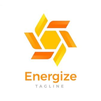Logotipo de hexágono de energia flor abstrata