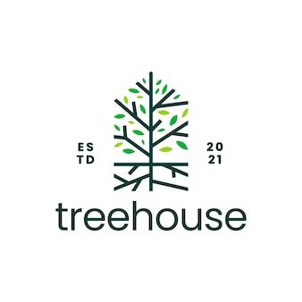 Logotipo de hipoteca de casa de raiz de árvore