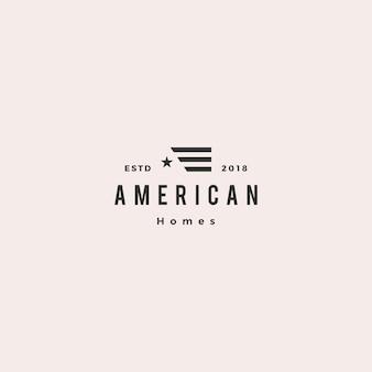 Logotipo de hipoteca home casa bandeira americana