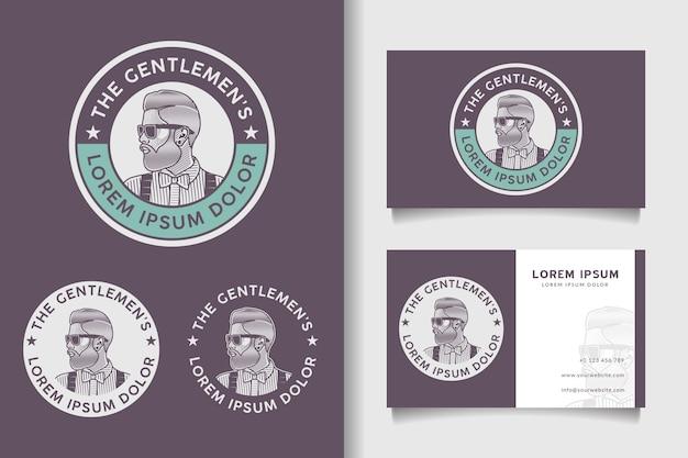 Logotipo de homem barbudo distintivo retrô vintage e modelo de cartão de visita