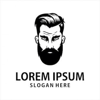 Logotipo de homem com barba com raiva