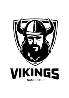Logotipo de homem de barba viking