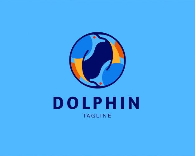 Logotipo de ícone de vetor de golfinho animal