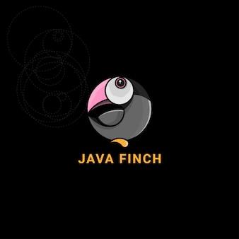 Logotipo de ícone java finch com proporção áurea