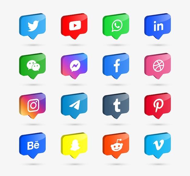 Logotipo de ícones de mídia social em balões de fala 3d