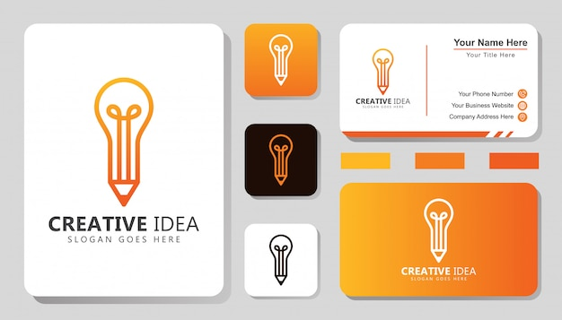 Logotipo de ideia criativa moderna, lápis com logotipo de conceito de lâmpada com design de cartão de visita