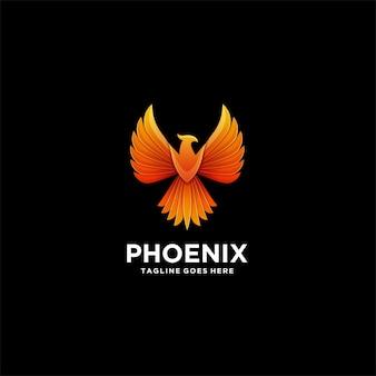Logotipo de ilustração colorida geométrica de phoenix.