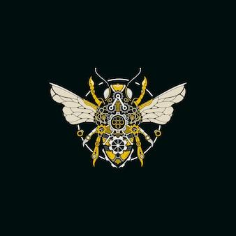 Logotipo de ilustração de abelhas steampunk