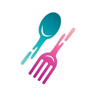 Logotipo de ilustração de colheres e garfos