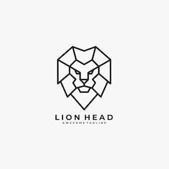 Logotipo de ilustração de linha geométrica de cabeça de leão.
