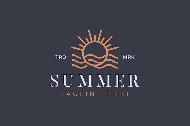 Logotipo de ilustração de ondas e sol de verão