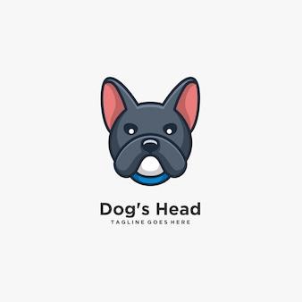 Logotipo de ilustração de pose bonito de cabeça de cachorro