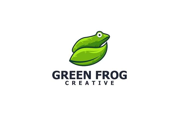 Logotipo de ilustração de sapo e folha