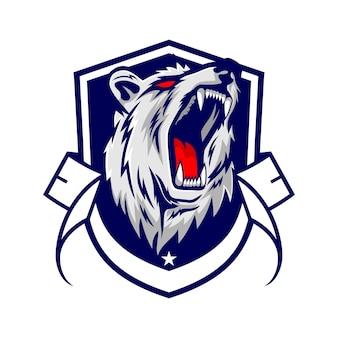 Logotipo de ilustração de urso de estilo luxo e e-sport