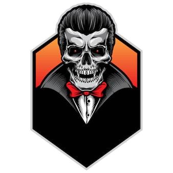Logotipo de ilustração vetorial crânio vampiro
