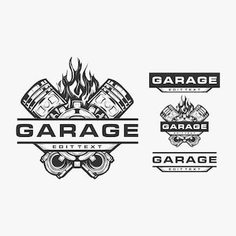 Logotipo de ilustração vetorial de motor de moto de garagem