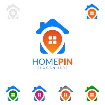 Logotipo de imóveis com casa e encontrar o conceito de casa