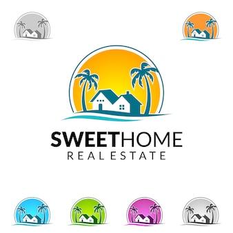 Logotipo de imóveis com casa, sol e praia casa conceito