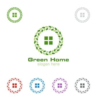 Logotipo de imóveis com conceito de casa verde