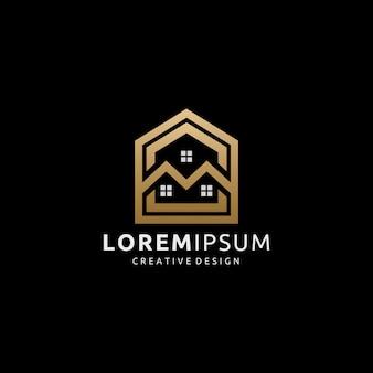 Logotipo de imóveis de casa dourada