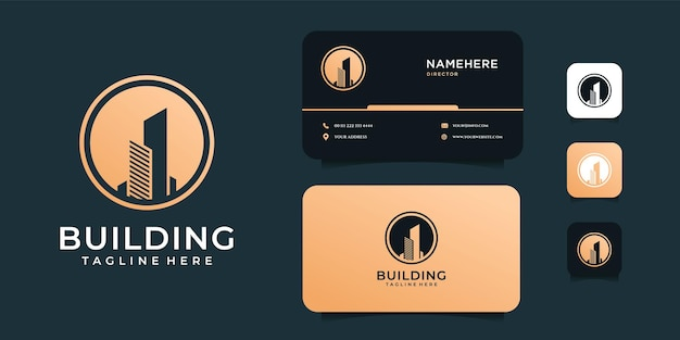 Logotipo de imóveis de construção criativa minimalista de luxo e modelo de cartão de visita.