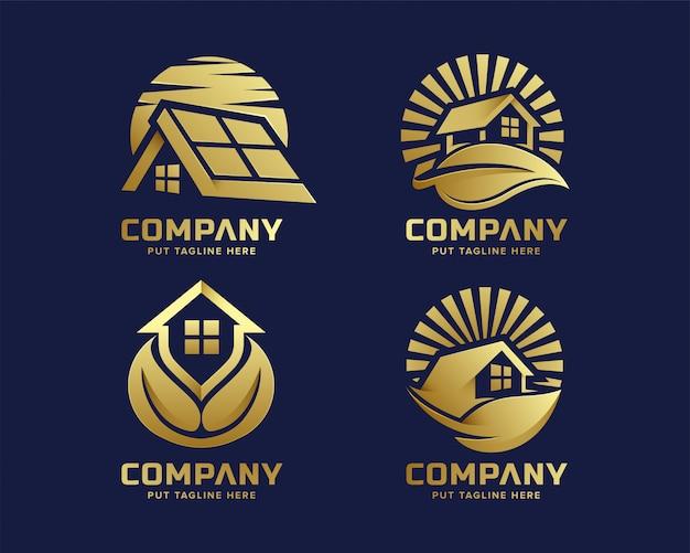 Logotipo de imóveis de luxo natureza premium