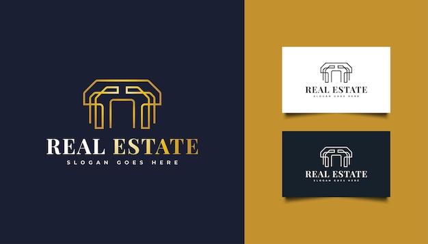 Logotipo de imóveis de ouro de luxo com estilo de linha. modelo de design de logotipo de construção, arquitetura ou edifício