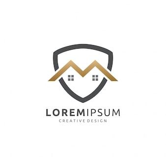 Logotipo de imóveis do golden m shield
