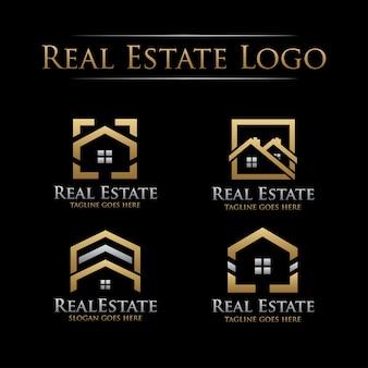 Logotipo de imóveis dourado