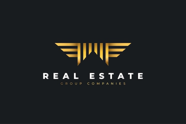 Logotipo de imóveis em ouro com a letra inicial m com asas. modelo de design de logotipo de construção, arquitetura ou construção