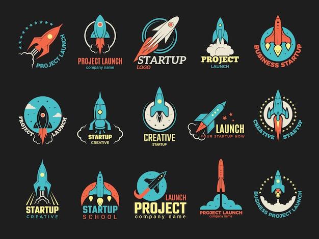 Logotipo de inicialização. lançamento de negócios idéia perfeita nave espacial foguete ônibus inicialização símbolos emblemas coloridos