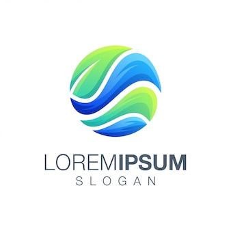 Logotipo de inspiração de folha redonda