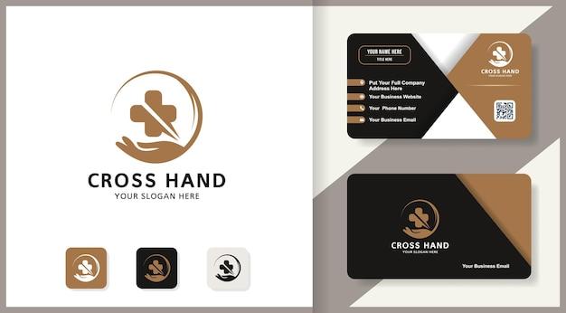 Logotipo de inspiração de mão cruzada para bem-estar e saúde