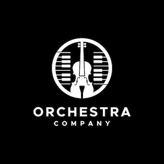 Logotipo de instrumento musical para violino e piano do grupo ochestra