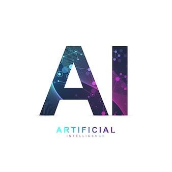 Logotipo de inteligência artificial. inteligência artificial e conceito de aprendizado de máquina. símbolo do vetor ai. redes neurais e outros conceitos de tecnologias modernas. conceito de tecnologia sci-fi.
