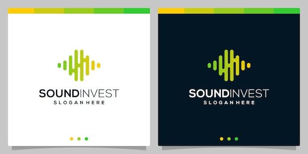 Logotipo de investimento financeiro com elementos de conceito de logotipo de onda de áudio sonora. vetor premium