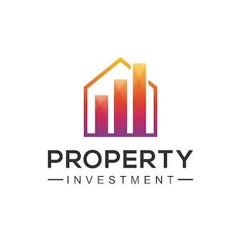 Logotipo de investimento imobiliário moderno, financiamento imobiliário, modelo