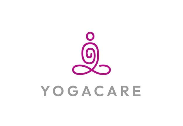 Logotipo de ioga abstrato homem sentado em pose de lótus simples conceito de logotipo de spa linear