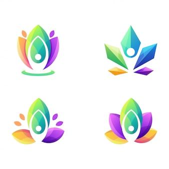 Logotipo de ioga colorido impressionante
