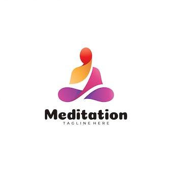Logotipo de ioga de meditação colorido abstrato