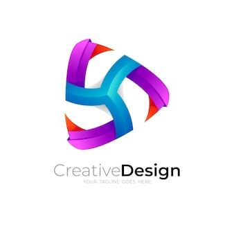 Logotipo de jogo abstrato com logotipos triangulares coloridos em 3d