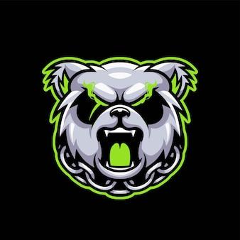 Logotipo de jogo agressivo do panda esport
