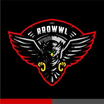 Logotipo de jogo de mascote de coruja preta