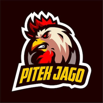 Logotipo de jogo de mascote de galo