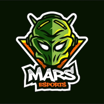 Logotipo de jogo de mascote de marte alienígena
