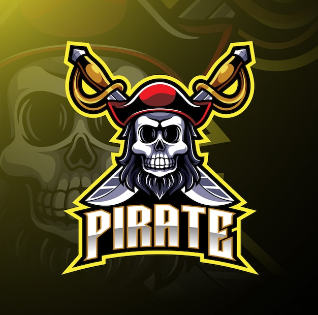 Logotipo de jogo de mascote de piratas